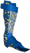 Pic of orthotic leg brace with Minions transfer pattern